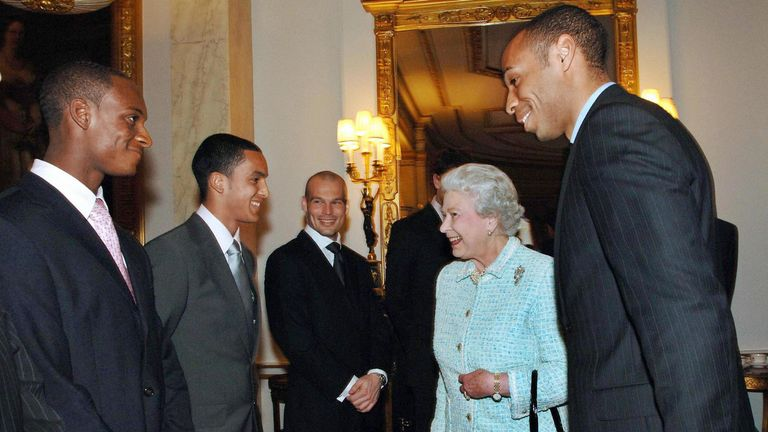Hoyte meeting the Queen alongside Arsenal legend Thierry Henry