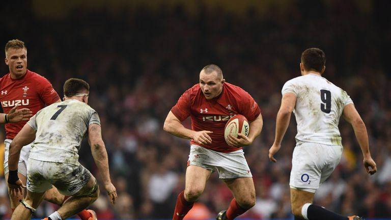 Ken Owens runs at the English defence during Wales' Six Nations win in Cardiff