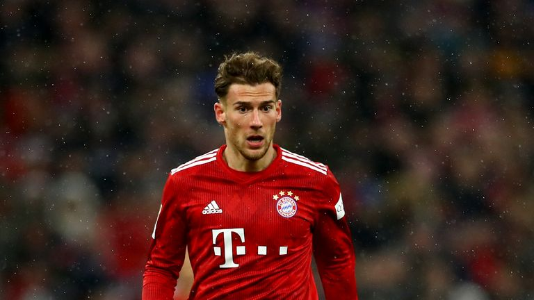 Goretzka wore a Bayern kit with sponsorship logos on the front and sleeve
