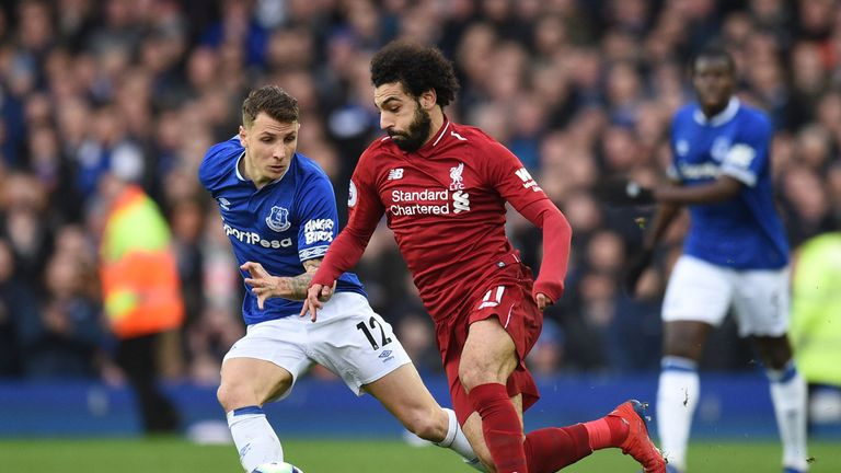 Mo Salah during Liverpool's Premier League match at Everton
