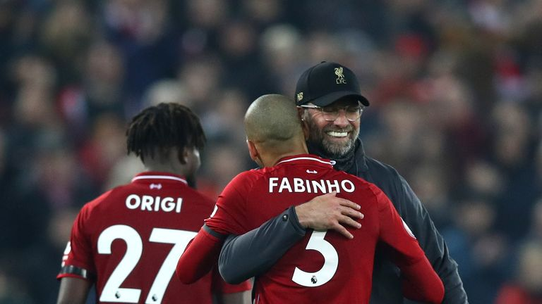Klopp celebrates with Fabinho after Liverpool's 5-0 win over Watford last month