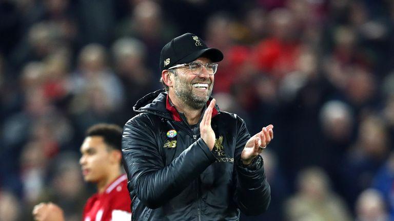 Liverpool manager Jurgen Klopp celebrates Everton victory in December