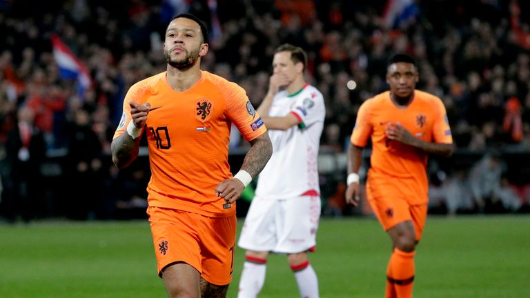 Memphis Depay shone during the Netherlands' 4-0 win over Belarus