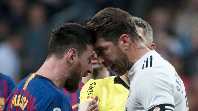 Lionel Messi squared up to Sergio Ramos after the Real Madrid captain appeared to strike the Argentine in the face