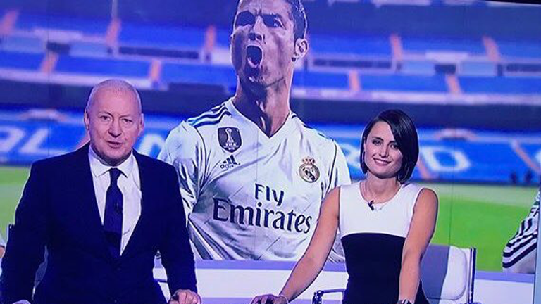 Michelle presents with Jim White on Sky Sports News