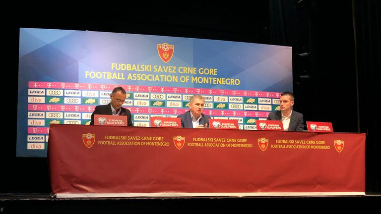 Montenegro head coach Ljubisa Tumbakovic answers media questions after their 5-1 defeat to England in a European Qualifier marred by claims of racist chanting