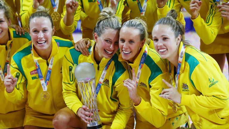 Australia celebrating with the Netball World Cup Trophy after victory in 2015