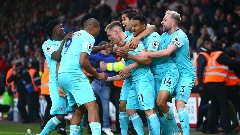 Matt Ritchie celebrates after scoring a late goal for Newcastle against Bournemouth