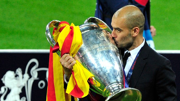 Guardiola twice led Barcelona to the Champions League trophy