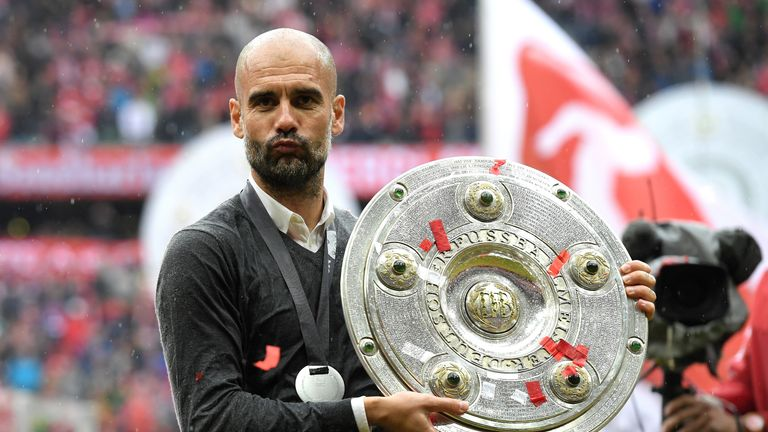 Guardiola won three Bundesliga titles but could not guide Bayern to the Champions League