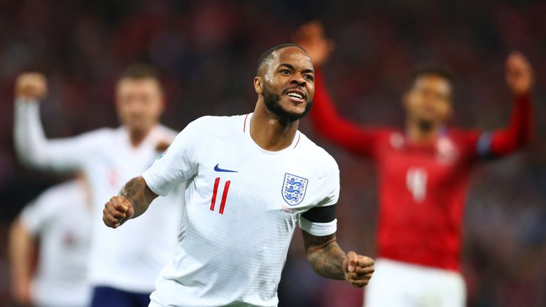 Raheem Sterling scored his first England hat-trick in the 5-0 win over the Czech Republic
