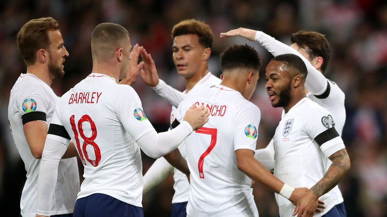 Raheem Sterling is congratulated after scoring his first hat-trick for England