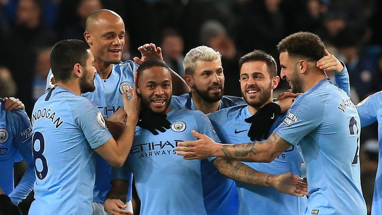 6a15b82e8 Raheem Sterling celebrates his opener with Man City team-mates