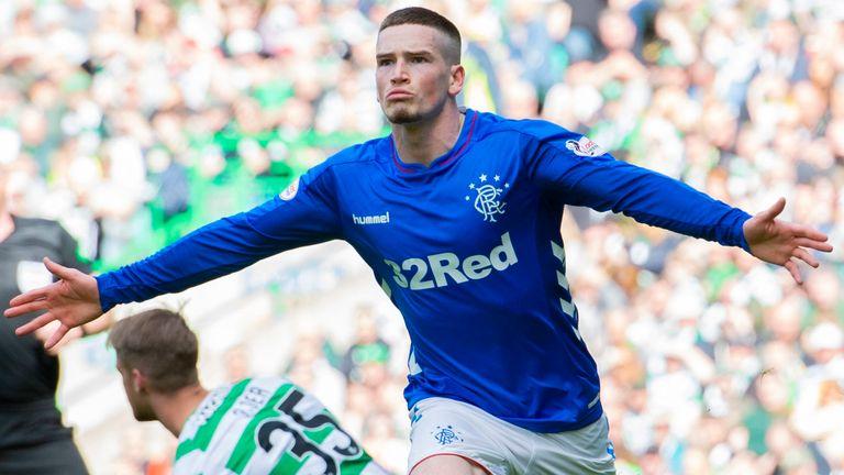 Ryan Kent celebrates scoring for Rangers against Celtic