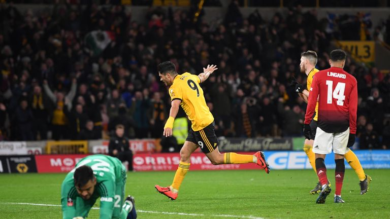 Raul Jimenez celebrates after giving Wolves the lead at Molineux