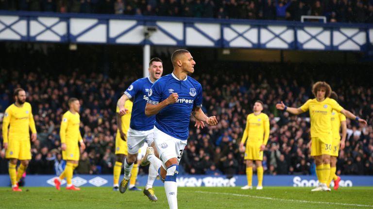 Richarlison celebrates scoring for Everton against Chelsea