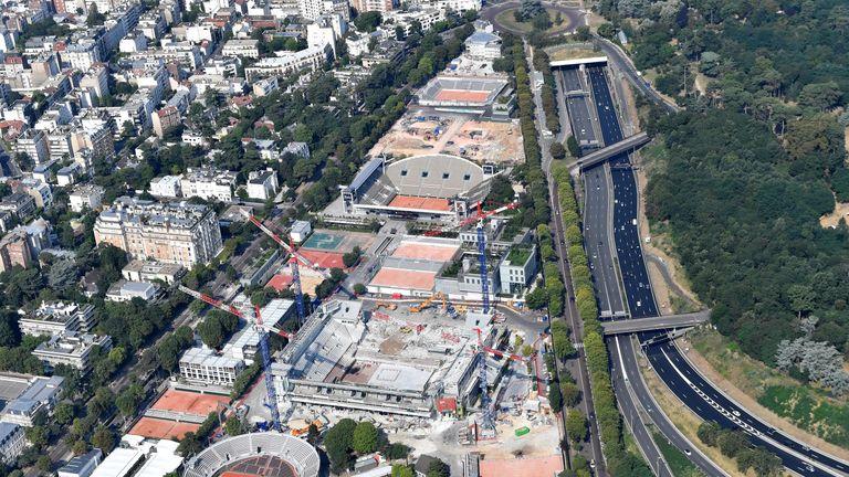 Roland Garros in Boulogne-Billancourt, next to Paris is under major reconstruction