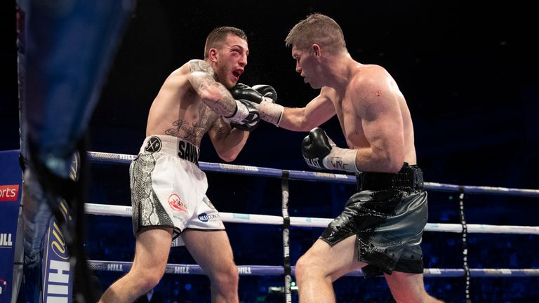 Liam Smith catches Sam Eggington with a short right to the chin