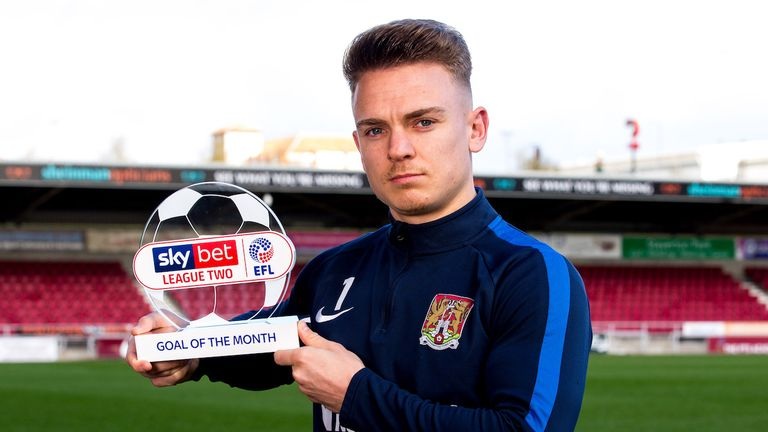 Sam Hoskins is the Sky Bet League Two Goal of the Month winner for February
