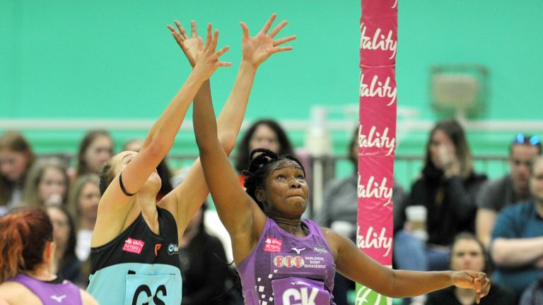 Saracens Mavericks defender Razia Quashie attempts an intercept against Surrey Storm