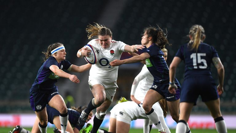 Sarah Bern takes on the Scotland defence in the final round of the Six Nations