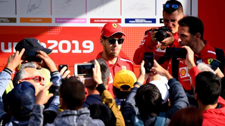 Sebastian Vettel greets fans in Melbourne