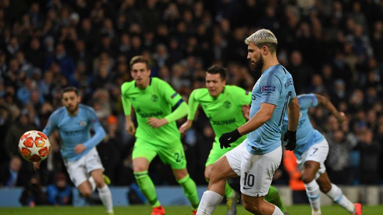 Aguero dinked home his penalty to settle any nerves at the Etihad Stadium