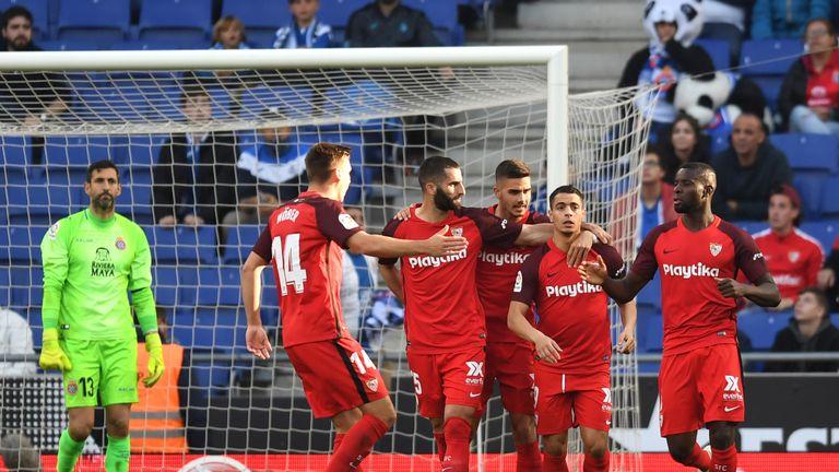 Sevilla celebrate Wissam Ben Yedder's penalty