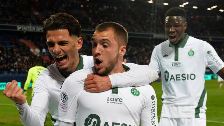 Saint-Etienne's Valentin Vada (centre) is congratulated after scoring