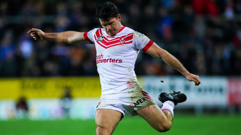 Lachlan Coote kicks for goal during St Helens' victory