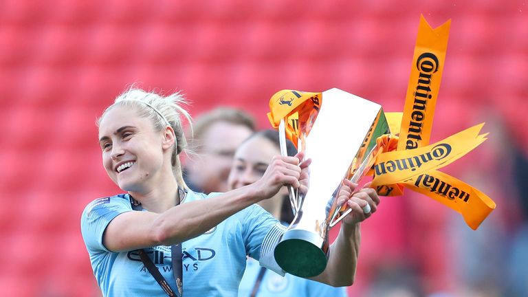 Houghton lifted the Conti Cup as Manchester City captain earlier this year