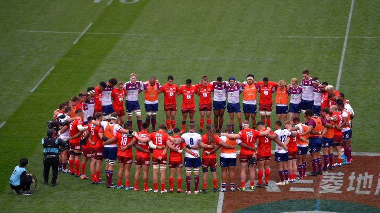 Both teams observing a minute of silence for the Christchurch terror attack victims