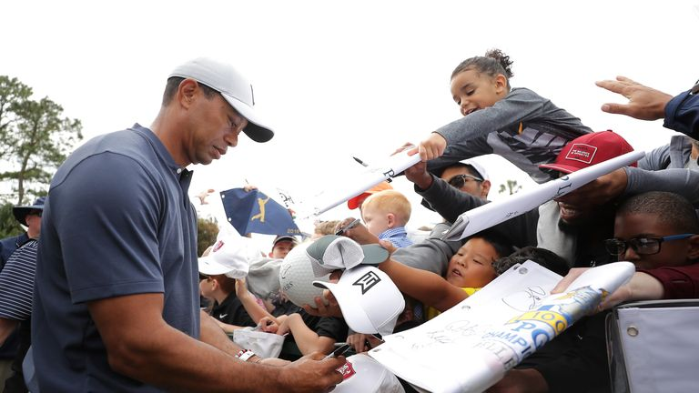 Large crowds have followed Tiger Woods at The Players