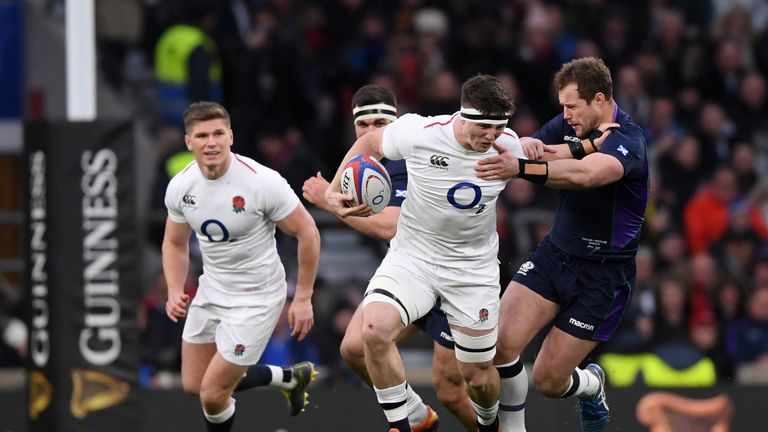 Tom Curry on the charge during a dominant start for England