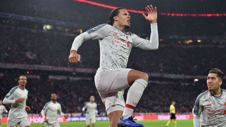 Virgil van Dijk scored Liverpool's second in their win in Munich