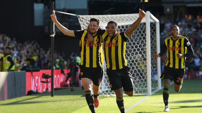 Troy Deeney and Craig Cathcart celebrate during Watford's win over Spurs