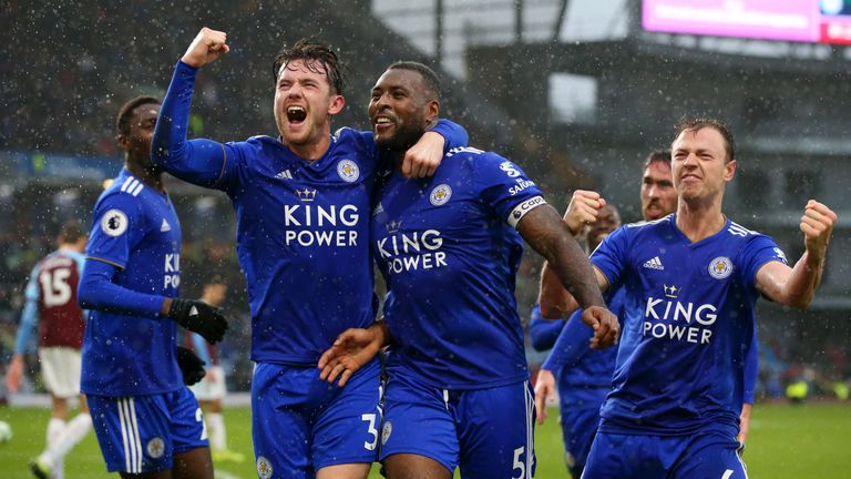Wes Morgan celebrates after scoring Leicester's second goal