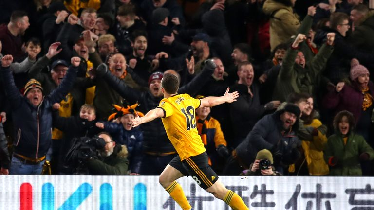 Diogo Jota's goal sparked jubilant Wolves celebrations at Molineux