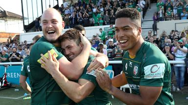 London Irish players celebrate securing promotion into the Gallagher Premiership