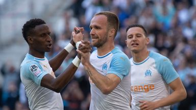 Valere Germain celebrates his goal for Marseille