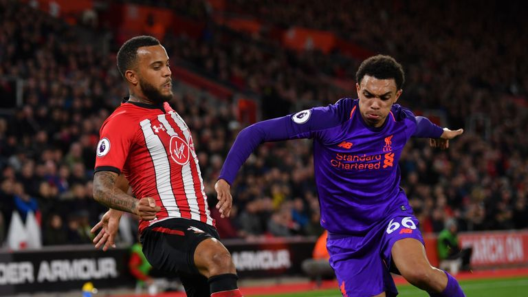 Ryan Bertrand in action against Liverpool