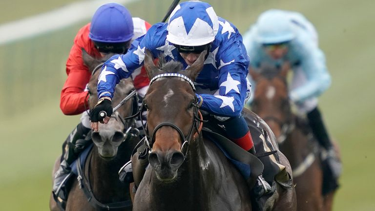 David Egan riding Qabala to win the Lanwades Stud Nell Gwyn Stakes at Newmarket
