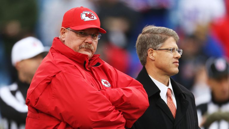 Chiefs head coach Andy Reid (L) with owner and CEO Clark Hunt (R)