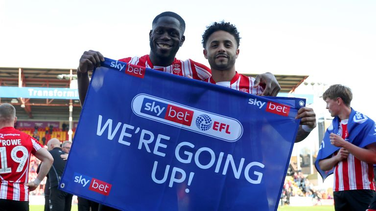 John Akinde, left, is one of four Lincoln players picked in the Team of the Year
