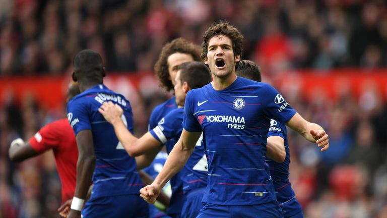 Marcos Alonso celebrates after equalising for Chelsea