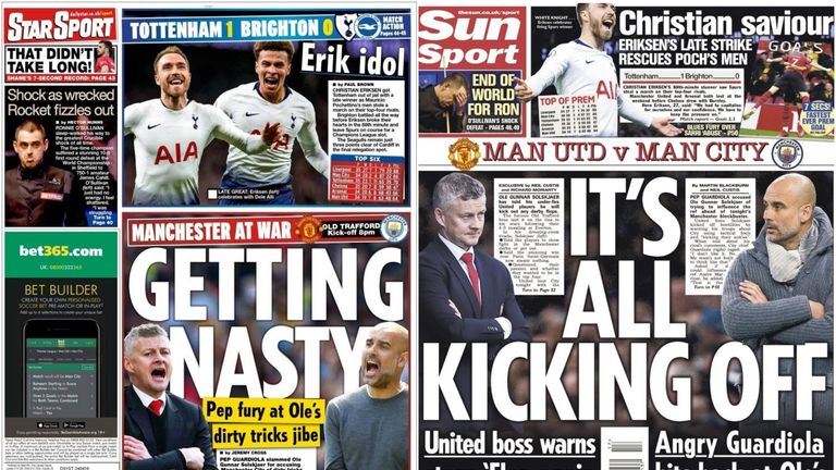 The Daily Star and The Sun both lead their Wednesday back pages with comments from Ole Gunnar Solskjaer and Pep Guardiola ahead of the Manchester derby