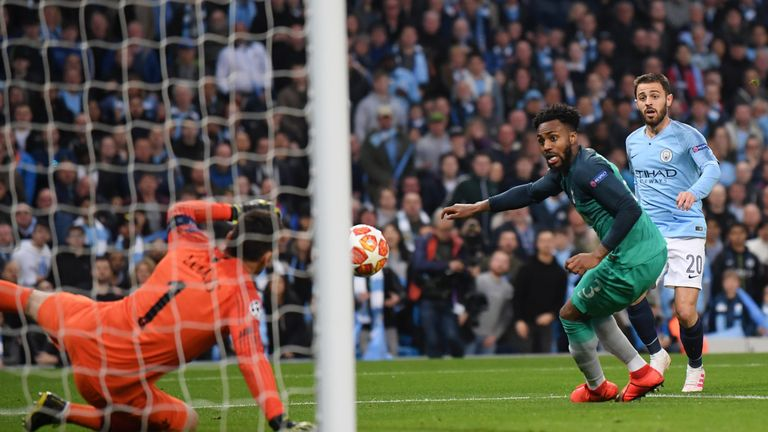 Bernardo Silva's shot deflects in off the legs of Danny Rose after 11 minutes
