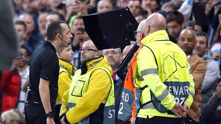 Cuneyt Cakir ruled out Sterling's late goal after checking VAR