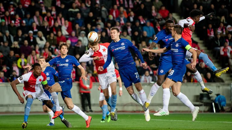 Slavia Prague's best chance came through Simon Deli in the second minute