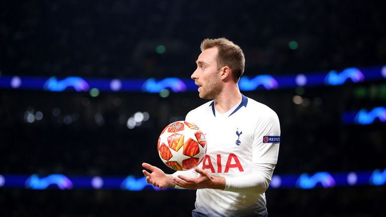 Christian Eriksen in action during the first leg of Tottenham's Champions League semi-final against Ajax